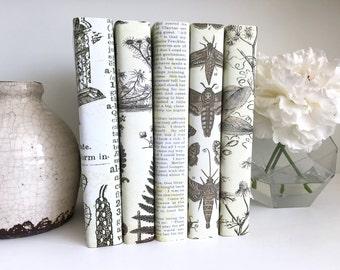 Interior Design Decorative Books Neutral Books Botanical Art Custom Book Covers Custom