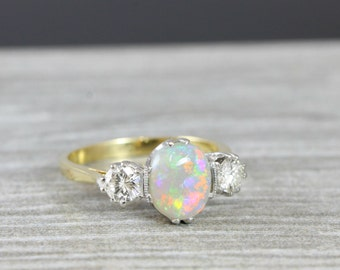 Opal and Diamond 3 stone engagement ring in 18 carat gold for her handmade ring UK