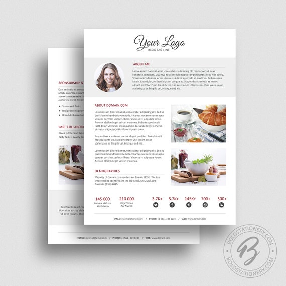 Press Kit Template 06   2 Page Press Kit Template   Ad Rate Sheet Template    Pitch Kit   Media Kit Template
