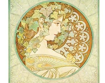 """Alphonse MUCHA 1976 Authentic Vintage Art Nouveau PRINT """"Lierre"""""""