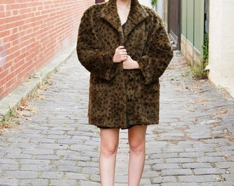 Vintage 1960s Leopard Print Coat / Jean Louis de Paris / Vogue Zurich / Faux Fur / Made in France / L