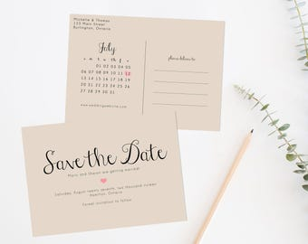 Rustic Save the Date Printable, Save the date postcard, Save the date calendar, Printable Save the Date, Kraft Paper Save the Date