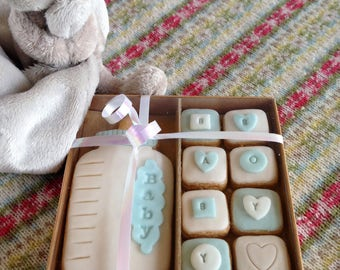 Hand baked baby boy biscuits - baby showers/Christenings/births etc