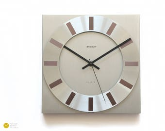 70s Modern BAUHAUS Wall Office CLOCK - Staiger Germany Mid Century Modernist Space Age Aluminium industry mcm 1970s