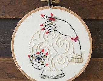 Fortune teller crystal ball wall art, fortune teller hands, hand embroidered hoop art, Gypsy Art