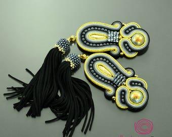 black tassel earrings, soutache earrings, tassel jewelry, extra long boho earrings, gold earrings black fringe earrings, statement earrings