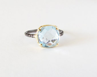 London blue Topaz Silver Ring - London Blue Topaz - Silver Ring - Two Tone Ring