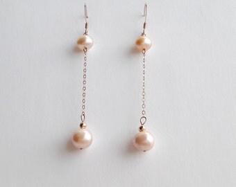 Freshwater pearl earrings, rose gold earrings, pearl jewelry, rose gold jewelry, delicate earrings, bridesmaid earrings, june birthstone
