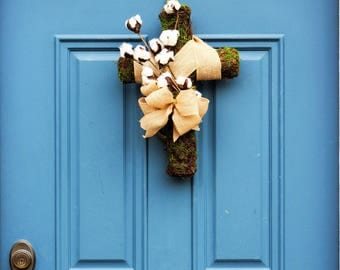 Easter Door Decor ,Easter Cross , Cotton Boll Cross , Cotton Boll Stems , Large Decorated Moss Cross , Twig and Vine Cross