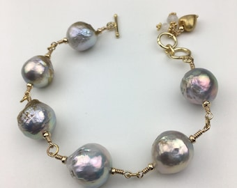 SOLD! Price Reduced! Baroque Akoya Pearl Bracelet l. B18