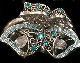 New Turqouise Crystal Antique Silver 2''  Hair Claw Clip
