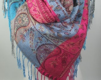 Pashmina Scarf Shawl Cowl Scarf Blue Pink Large Scarf Winter Scarf Women Fashion Accessories Gift Ideas For Her Christmas Gifts