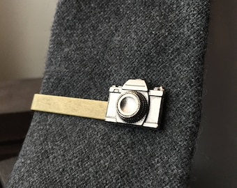 Mens Gifts For Photographers -  Photographer Gift - Camera Tie Clips - Camera Hipster Jewelry - Mens Tie Clip Hipster - Tie Clips Men