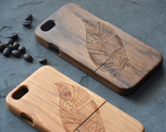 Feather Print iPhone Case 6 6s 7 Wooden Phone Case Wood Custom Phone decal Wife Mom Sister gift Girlfriend Valentine Phone Skin