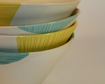 Set of 4 bowls in white earthenware - hand made in my Studio - (ref.1)