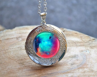 Galaxy Nebula Necklace, Milky Way Photo Locket, Galaxy Locket, Locket Necklace, Space Pendant