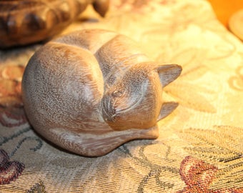 Wooden Hand Carved Sleeping Cat