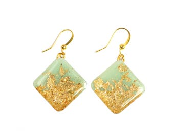Mint Green Earrings, Mint Resin Earrings, Square Resin Earrings, Everyday Earrings, Handmade gift, Gift for mom, Elegant drop earrings,