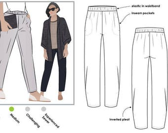 Besharl Pant // Sizes 16, 18 & 20 // Style Arc PDF Sewing Pattern for a Women's Pant // Instant Download