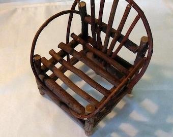 Small  wood doll toy chair folk decor rustic wood chair twig chair 1970s