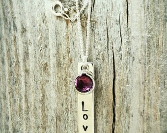 "Hand Stamped ""Love"" Silver Bar with Single Swarovski Crystal Birthstone"