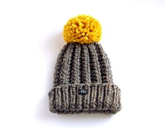 Womens Dark Grey Bobble Hat.  Thick chunky hand knitted beanie. Extra Large mustard yellow pom pom. Womens charcoal grey tweed  wool blend