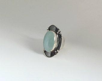 Aquamarine ring,Silver Ring,Unique ring,Sterling silver ring with aquamarine,Statement ring,Oxidized silver ring,Handmade ring,Aquamarine,