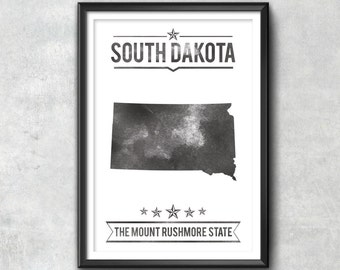SOUTH DAKOTA State Typography Print, Typography Poster, South Dakota Poster, South Dakota Art, South Dakota Gift, South Dakota Decor, Map