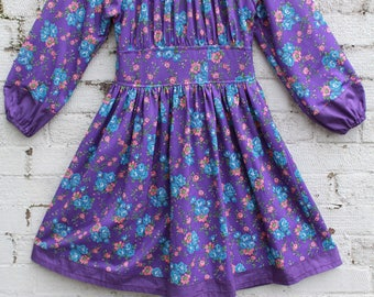 Vintage purple hippy flower 70s smock pleated pleat ballon sleeves boho gypsy mini dress S M