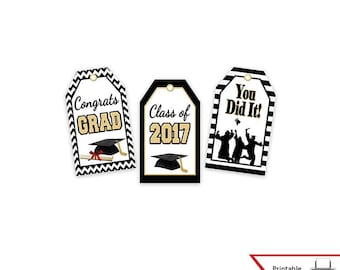 Graduation gift tags etsy printable graduation gift tags class of 2017 high school college party favor negle Images