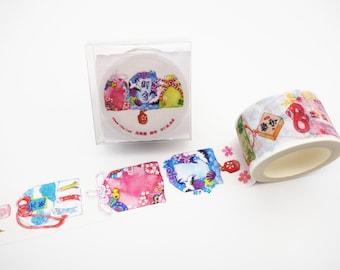Japanese omamori good luck amulate washi tape, special edition Shinto shrine amulate washi tape, Buddhist charm, planner tape, kimono print