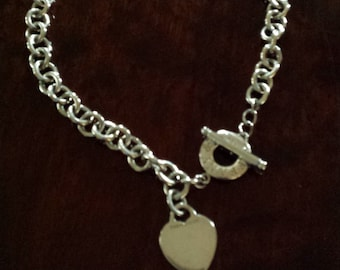 Sterling silver heavy linked Tiffany necklace with heart