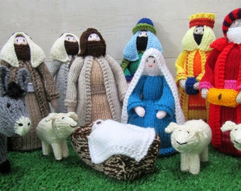 Hand knitted nativity set including donkey, Christmas scene