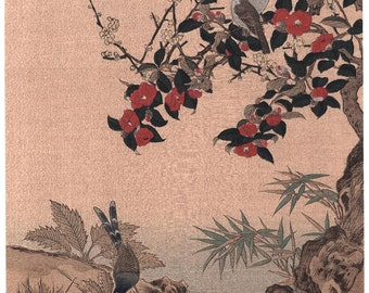 "1923, Japanese vintage Woodblock print, Wang Jeshui, ""Crimson Camellias"""