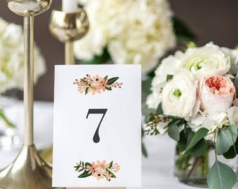 Printable Table Number Cards - Vintage Country Garden Table Signs - Wedding Table Numbers - Wedding Reception - 1 to 20 - (Item code: P1011)