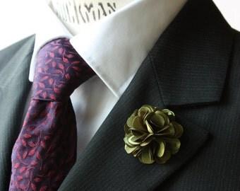 Lapel Pin - boutonniere - Flower -  Bronze Green Satin - men flower lapel pin, Dapper Men, Dandy, Wedding Groom