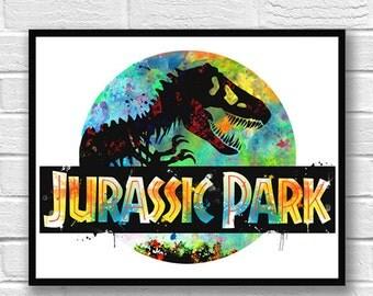 Jurassic Park Watercolor Print, Dinosaur Art, Movie Poster, T-Rex, Jurassic World, Wall Art, Kids Room Decor, Nursery Art, Colorful Art  598