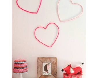 "Heart Home Decor, Heart Wall Art, Wall Decor, Heart Silhouette, Love Wall Decor, Wire Wall Art, Love Decor, 12"" Heart Decor, Girls Room Deco"