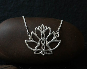 Lotus necklace, silver lotus flower necklace, lotus charm, sterling silver, lotus flower pendant, silver lotus flower, yoga lovers jewelry