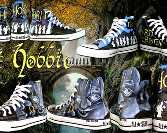 Hobbit / Lord of the Rings Custom Painted Converse Sneakers by artist Kat Davis : Chucks For Fiver