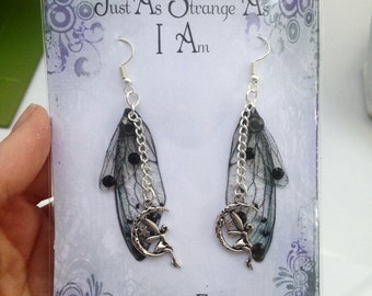 Carabosse Earrings - Silver Fairy Charm Small Gothic Dark Sprite Fairy Wing/Butterfly/Cicada Earrings