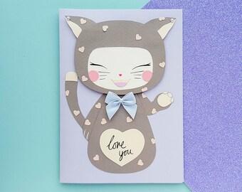 Handmade Cute Cat Kawaii Card | Personalised | Cat Card, Cat Birthday Card, Cute Birthday Card, Cute Cards, Kawaii Birthday Card, Kawaii Cat