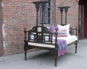 Antique Indo-Dutch Bed, Anglo Indian bed, carved Bed, Indian bed, Antique Daybed, colonial bed, vintage bed, Canopy bed, twin bed