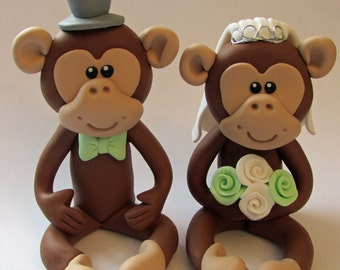 Bride And Groom Monkey Wedding Cake Topper,