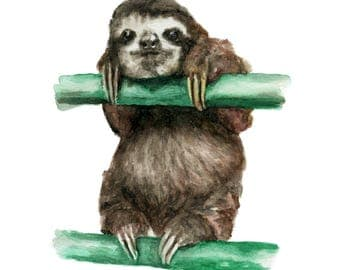 Watercolor Sloth Print, Sloth Art Print