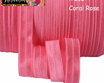 """5/8"""" inch Coral Rose #210 FOE Fold Over Elastic - Solid Color - By the Yard- Shiny DIY For Headband - Coral Pink"""
