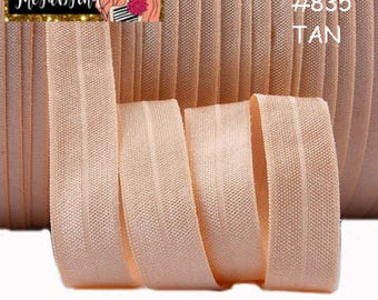 """5/8"""" inch Tan Color #835 FOE Fold Over Elastic - Solid Color - By the Yard- Shiny DIY For Headband"""