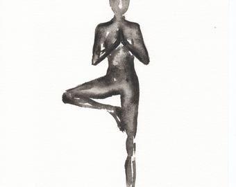 Yoga Original Watercolour Painting | Tree Pose | Black | White | A4