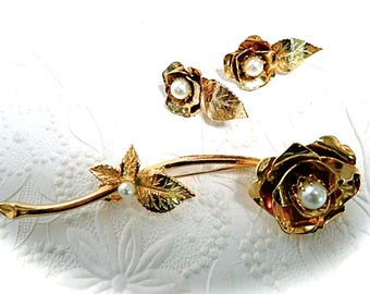 Vintage Rose Brooch & Clip On Earring Set Accessories Jewelry Sets VA-219