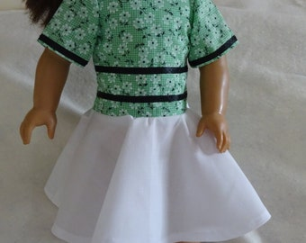 18 Inch Doll Cloths, 18 Inch Doll Dress, Doll Dress, Doll Summer Dress, Green Doll Dress, Doll Cloths, 18 Inch Doll Outfit, Cloth For Doll